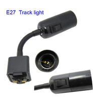 track lichtschalter großhandel-E27 Tracking Lampenhalter Sockelkappen für LED-Schienenleuchte mit Klemme und 6ft 180cm US-Stecker mit ON / OFF-Schalter Basishalter