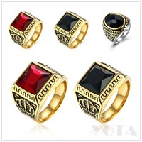 Wholesale Crown Design Jewelry Rings - Tibetan Jewelry Titanium 316L 9 10 11 inches Ring Man Punk Skulls Crown Design Gold Plated 1 piece Drop Ship