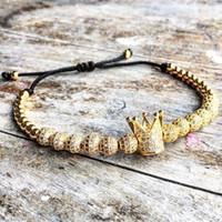 ingrosso braccialetti intrecciati per gli uomini-New Fashion uomo Micro Pave CZ Zircone cubico Gioielli fascino della corona e 4mm Branelli tondi braccialetto intrecciato femminile pulseira macrame