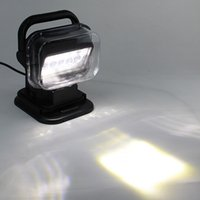 Wholesale Remote Control Suv - Black 50w 360º Cree LED Rotating Remote Control Work Light Spot for SUV Boat Home Security Farm Field Protection Emergency Light Car Boat