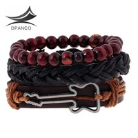 Wholesale Leather Guitar Wristbands - Wholesale- 3pcs 1 Set Genuine Wrap Leather Bracelets Charm Guitar wristband For Women Men Accessories Beads Jewelry pulseira masculina