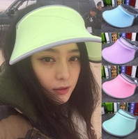 Wholesale NEW Candy colors Sun Visors fashion men women Wide Brim Hats Sun Hat sports cap casual cap sunvisor Tennis Golf Adjustable Headband hat gift