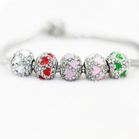 Venta al por mayor Rodio Plating Antique Crystal Beads Fit Pandora Charms perlas Pulsera