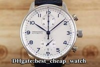 Wholesale Leather Mens Watch Strap - Super Clone Luxury Brand Watch 46 Portuguese Quartz Chronograph Mens Watch Whiite Dial Silver Bezel Leather Strap Mens Best Watches