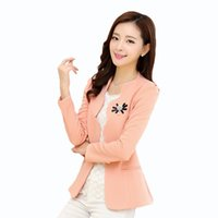 Wholesale Fashionable Woman Blazers - Fashionable Ladies Blazer Feminino 2015 Plus Size Blaser Women Suit Blazers And Jackets White Pink Black Yellow Blazer Female