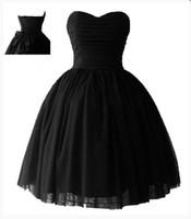 schnürte dich zurück großhandel-kurze Parteikleider Schatz Ballkleid Lace-Up Zurück Günstige Red / Black Prom Homecoming Kleid Kostenloser Versand