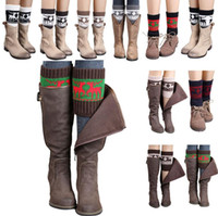 christmas boot cuffs 2018 - Women Winter Knitted Leg Warmer Socks Christmas Elk Deer Boot Cover Cuffs Gaiters Short Socks 20 Styles OOA3623