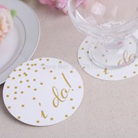 Vente en gros - Livraison gratuite 24pcs Wedding I Do Coasters Cup Cushion Holder Coffee Coasters Cup Mat For Wedding