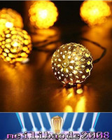 Wholesale Wholesale Pure Silver Set - 2016 NEW Warm white 10 Balls Set Wholesale Moroccan String LED Fairy Lights Christmas Decoration LED Lamp Solar Powered gold Silver color MY