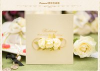 Hot selling Laser Cut Flora Wedding Invitation Cards Personalized Champagne Wedding Party Invitation Cards With Handmade Flower 2017