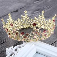 Wholesale Wig Circle - Vintage Wedding Hair Jewelry Accessories Baroque Round Circle Rhinestone Pearls Tiara King Queen Crown Bridal Prom Tiaras Crowns