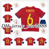 Wholesale European Shirts - 2016 kids Spain kits soccer Jersey Home red I.CASILLAS FABREGAS ISCO A.INIESTA KOKE European Espana DIEGO COSTA child youth Football SHIRTS