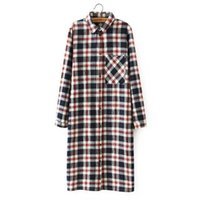 Wholesale Button Down Back Shirt - Women Shirt Dress Fashion Autumn Cotton Plaid Print Front back buttons pocket long Sleeve Turn-down Collar Casual Dresses