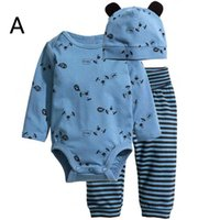 Wholesale Dog Clothes Trousers - dog mouse bear deer girls boys bodysuits children One-Pieces baby jumpsuit child rompers + hat + kids pants Joggers trousers clothing sets