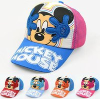 Wholesale Child Snapbacks - 2016 new Cartoon summer Baseball Caps For Kids Mickey Mouse Mesh Cartoon Hip Hop Boys Girls Caps Summer Sun Hat Children Snapbacks 2-8Y kids