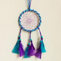 India Dreamcatcher Wind Chimes con pluma azul púrpura Dream Catcher Wall colgante decoración colgante Decoración Home Decoración Regalo