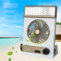Wholesale Solar Power Lantern Lights - Solar Power AC Rechageable 2-in-1 Camping Cool Fan Light Tent LED Lantern Cooler