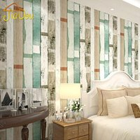 Wholesale Wood Contact Paper - American Country Photo Contact Wallpaper Mediterranean Wood Stripes 3D Embossed Vinyl Bedroom Sofa Background Wall Paper Roll