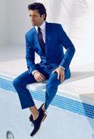 Wholesale High Quality Tuxedos - 2017 Mens wedding suits Custom Made High Quality Royal Blue Tuxedos Wedding Suits Groomsman Grooms Suits