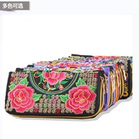 Wholesale Handmade Leather Card Wallet - Hot New Embroidered Wallet Purse Handmade Ethnic Flowers Embroidery Women Long Wallet Day Clutch HandBag