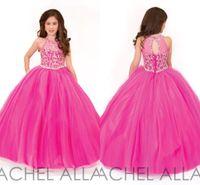 Wholesale Beautiful Dresses For Teens - 2016 Rachel Allan Beautiful Fuchsia Ball Gown Girls Pageant Dresses for Teens Beading Crystal Girls Formal Party Dress Gowns