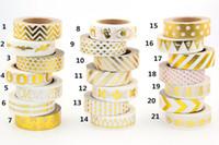 Wholesale Foil Strip - Wholesale-Hot sales!! 10m Gold Foil decorative scotch tape dot, pineapple,heart, strip masking Christmas Japanese washi tape