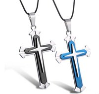 Wholesale Titanium Stainless Steel Cross Pendant - Unisex Men Stainless Steel Cross Pendant Necklace titanium steel Black Blue Jesus Chain Kimisohand Jewelry Accessory