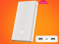 Wholesale External Backup Tablet - 100% Original Mi Xiaomi 20000mAh Power Bank Dual USB Portable Charger White External Battery Backup Power Source For Cellphone Tablets