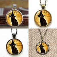 Wholesale cats bookmarks for sale - Group buy 10pcs Gun Black Cat Cute Halloween Black Pendant Jewelry glass Necklace keyring bookmark cufflink earring bracelet