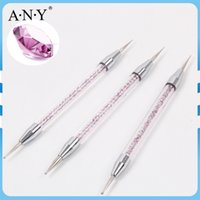 Wholesale crystal clear nail acrylic - Wholesale- 2017 New Design ANY Clear Acrylic Handle With Purple Crystal 2-Sided Nail Art Dotting Pen Set 3PCS Set