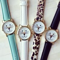 Wholesale Cartoon Tiger Dress - Smile Kitty Design Women Fashion Watches Pu Leather Strap Tiger Cat Bear Dress Watch Unisex Cute Cartoon Quartz Wristwatches