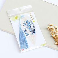 chinese style lesezeichen großhandel-Leaf Vein Lesezeichen handgemachte Retro Handwerk chinesischen Stil einfache Buch Marker mit zarten Quaste Hochzeitsgeschenk für Gast 2 88cj F R