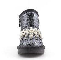 botas de nieve rhinestones al por mayor-2017 Kid Snow Boot Winner Niños Fashion Pearl Rhinestone Baby Pu Leather Plush Snow Boot Kid Girl Black Flat 2 colores
