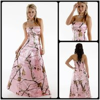 Wholesale Prom Camouflage Dresses - Cheap 2018 Pink Camo Bridesmaids Dresses Long Strapless A Line Floor Length Camouflage Prom Dress Wedding Party Events Bridesmaid Dresses