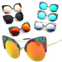 koreanische straßenmode für männer großhandel-Korean Flut Mode Männer und Frauen Sonnenbrille Europa und den Vereinigten Staaten Katzenauge reflektierende Sonnenbrille Straßenbrille 6375