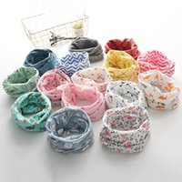 Wholesale Cute Scarf Ties - Wholesale Baby Cotton Neck Scarf Cute Print Children Warm Scarf Kids Collars Autumn Winter Boys Girls O Ring Scarf Baby Cloth Accessories
