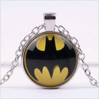 25mm Temps Précieuses Pendentif Collier Super Hero Batman alliage LOGO verre Sweater Neck Chain Bijoux Cheap Wholesale