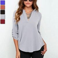 Wholesale Ladies Office Shirts Blouses - Summer Chiffon Blouse Female Sexy V-neck Long Sleeve Loose Casual Ladies Shirts 2018 New Women Office Tops Blouses Clothes