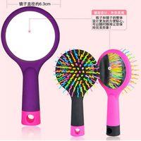kammspiegel groihandel-Detangle Haarbürste Magic Rainbow Kamm mit Spiegel Haarbürsten Anti-Static TT Kamm Schwarz Pink Lila