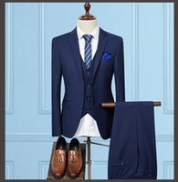 Wholesale Cheap Men S Wedding Suits - Handsome Wedding Groom Tuxedos (Jacket+Vest+Pants) Men Suits Custom Made Formal Suit for Men Wedding Bestmen Tuxedos Cheap 2016 -2017
