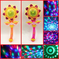 Wholesale Led Windmill Wholesale - Hot LED Sunflower Stick Projection Magic Wand Large Music Windmill Dancing Lamp Flashing Stick Children Puzzle Toy