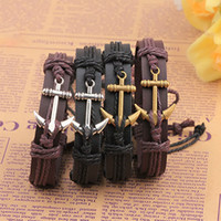 Wholesale Boat Anchor Bracelet - New e Genuine Leather hook boat anchor bracelets adjustable wristband bangle cuffs for women men punk jewelry 161480