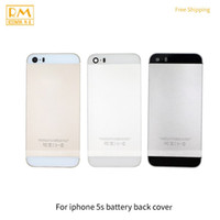 Wholesale Wholesale Cellphone Parts - 1pcs Grade A For iphone 5S Battery Cover Back Housing Full Back Cover Door Rear Case White Black Gold Color Replacement Cellphone Parts