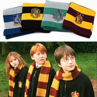 Wholesale Halloween Costumes Blue Men - New Fashion 4 Colors College Scarf Harry Potter Gryffindor Series Scarf With Badge Cosplay Knit Scarves Halloween Costumes Woman Man