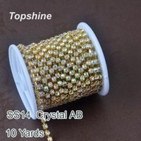 Wholesale Crystal Ss14 - Machine cut 10 Yard SS14 Crystal AB Glass Rhinestones Cup Chain For Decoration