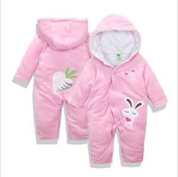 Wholesale 24 Month Girl Snowsuit - Baby Girls Clothes cute Animal RabbitBaby Rompers Costume Winter Fleece Clothes For Boys Warm Snowsuit Jumpsuit