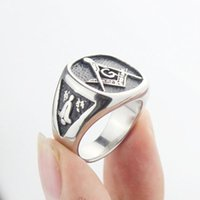 Mens Silver Black Free Mason Freemasonry Masonic 316L Stainless Steel Band Ring