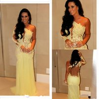 Wholesale Silver One Shoulder Oscar Dress - 2014 Oscar Yellow Mermaid Lace One-Shoulder Long Sleeve Prom Dresses Sheer Chiffon Evening Gowns Long Celebrity Red Carpet Dresses
