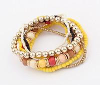 Wholesale Korean Women Beaded Bracelets - 2016 Spring Korean Designer Fashion Bohemia Beads Bracelet Beaded Multilayer Strand Stretch Bracelets Bangles For women Girl
