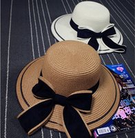 Wholesale Butterfly Straw Hats - New Fashion straw hats for women hot ladies Foldable Wide Brim hat Floppy Summer Beach Straw Hat Sweet Butterfly Cap